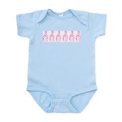 Row Of Pink Marie Antoinettes Infant Bodysuit