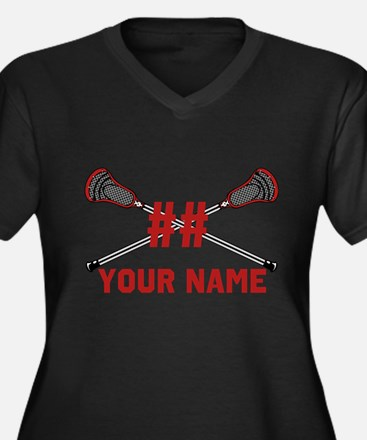 Personalized Crossed Lacrosse Sticks with Red Wome