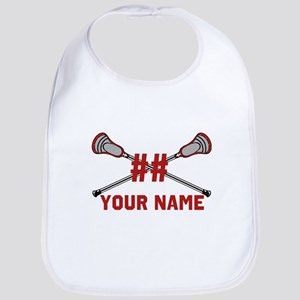 Personalized Crossed Lacrosse Sticks with Red Bib