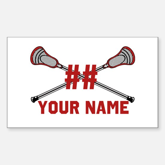 Personalized Crossed Lacrosse Sticks with Red Stic