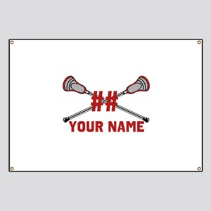 Personalized Crossed Lacrosse Sticks with Red Bann