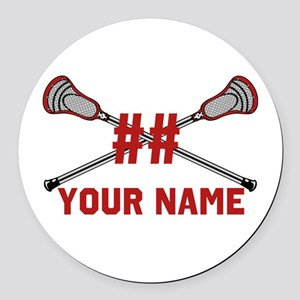 Personalized Crossed Lacrosse Sticks with Red Roun