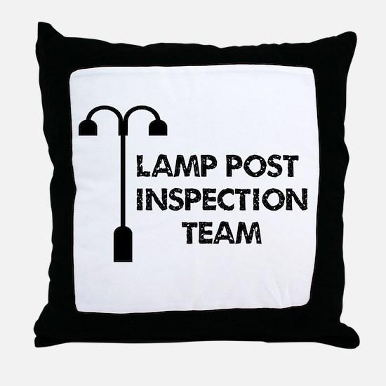 Lamp Post Inspection Team Throw Pillow