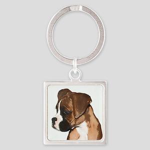 Boxer Dog Square Keychain