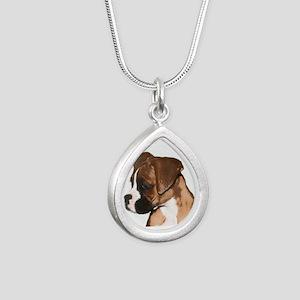 Boxer Dog Silver Teardrop Necklace