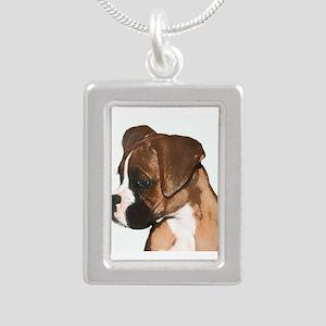 Boxer Dog Silver Portrait Necklace