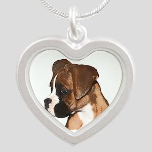 Boxer Dog Silver Heart Necklace