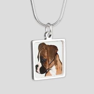 Boxer Dog Silver Square Necklace