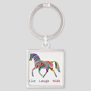 Rainbow horse gift Square Keychain