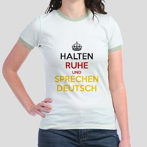 Halten Ruhe und Sprechen Deutsch Jr. Ringer T-Shir