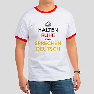Halten Ruhe und Sprechen Deutsch Ringer T