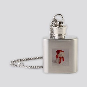 Adorable Maltese Snowman Flask Necklace
