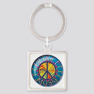 Peace thru Music Square Keychain