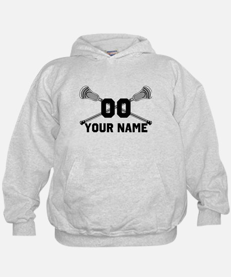Personalized Crossed Lacrosse Sticks White Hoody
