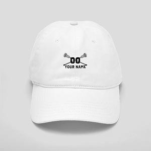 Personalized Crossed Lacrosse Sticks White Cap