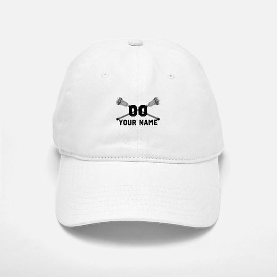 Personalized Crossed Lacrosse Sticks White Baseball Baseball Cap