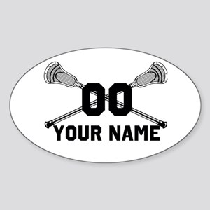 Personalized Crossed Lacrosse Sticks White Sticker