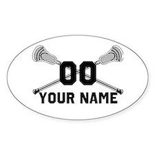 Personalized Crossed Lacrosse Sticks White Sticker