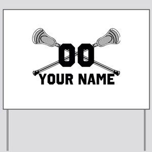 Personalized Crossed Lacrosse Sticks White Yard Si