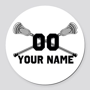 Personalized Crossed Lacrosse Sticks White Round C