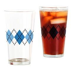 Blue Evil Argyle Drinking Glass