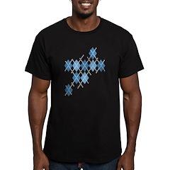 Blue Evil Argyle Men's Fitted T-Shirt (dark)