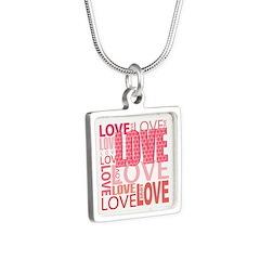 Love Silver Square Necklace