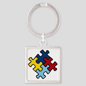 Autism Awareness Puzzle Square Keychain