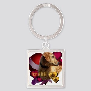 Golden Retriever Heart Square Keychain
