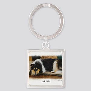 Tri Color Collie Square Keychain