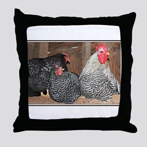 chickens on a roost Throw Pillow