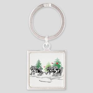Gypsy Vanner Winter Square Keychain