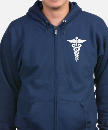 Medical Symbol Caduceus Zip Hoodie (dark)