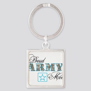 Proud Army Mom Square Keychain