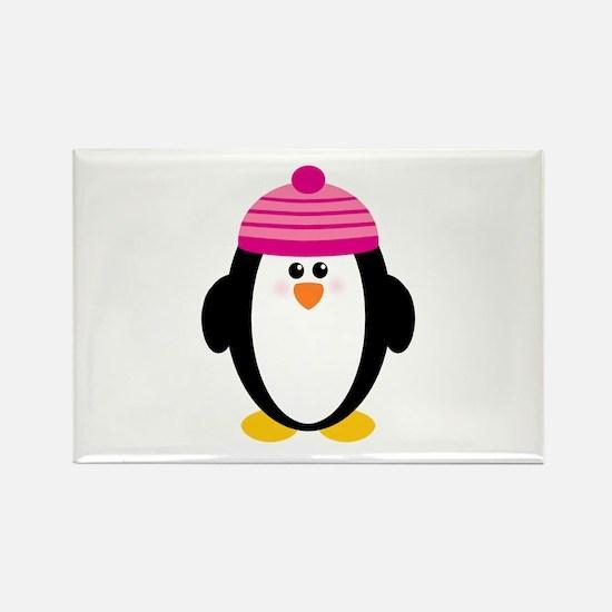 Pink Hat Penguin Rectangle Magnet