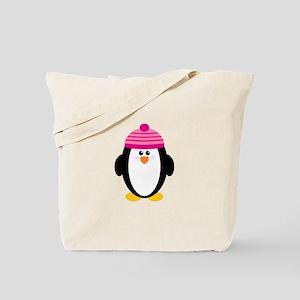Pink Hat Penguin Tote Bag