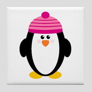 Pink Hat Penguin Tile Coaster