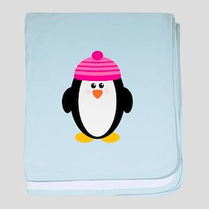 Pink Hat Penguin baby blanket
