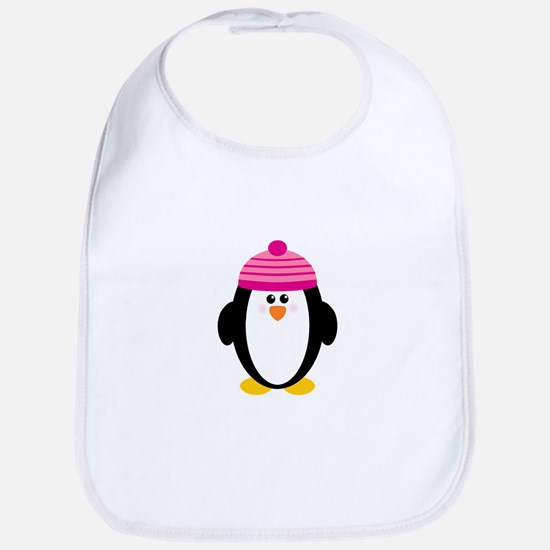 Pink Hat Penguin Bib