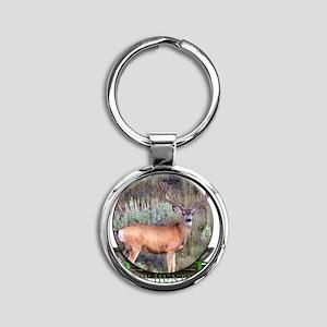 bow hunter, trophy buck Round Keychain