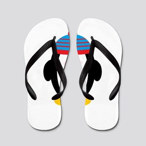 Red and Blue Hat Cartoon Penguin Flip Flops