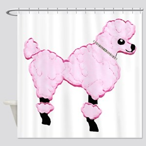 Pink Poodle with Jeweled Collar Shower Curtain