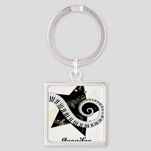 Music star gold black Square Keychain