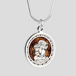 mayan circle Silver Round Necklace