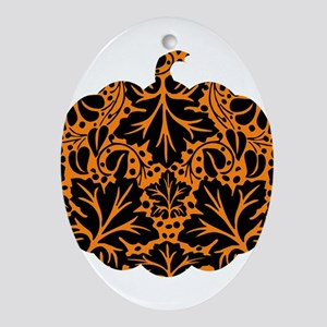 Damask Pattern Pumpkin Ornament (Oval)
