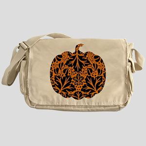 Damask Pattern Pumpkin Messenger Bag