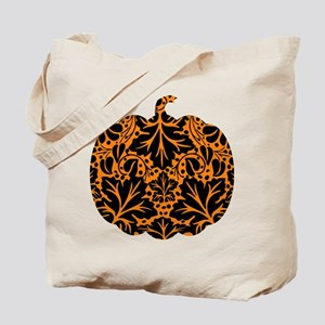 Damask Pattern Pumpkin Tote Bag