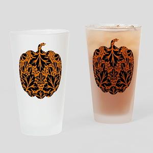 Damask Pattern Pumpkin Drinking Glass
