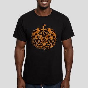 Damask Pattern Pumpkin Men's Fitted T-Shirt (dark)