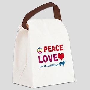 Peace Love Australian Shepherd Canvas Lunch Bag